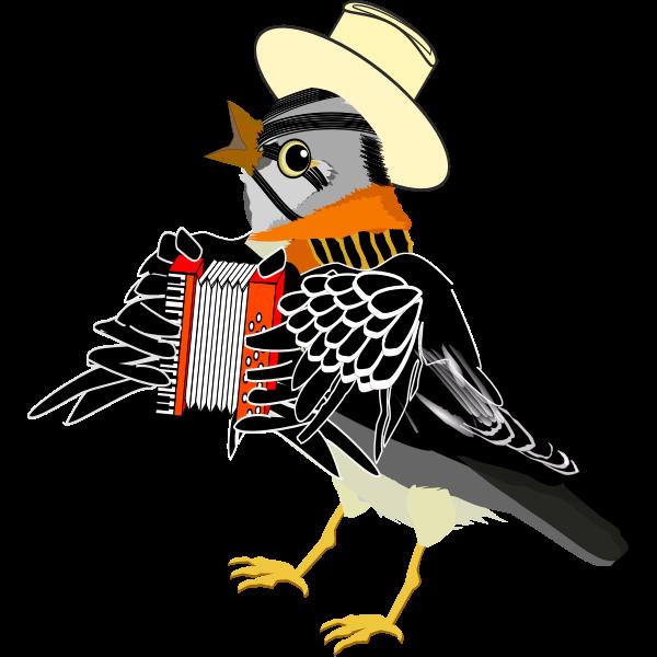 Bird with accordion