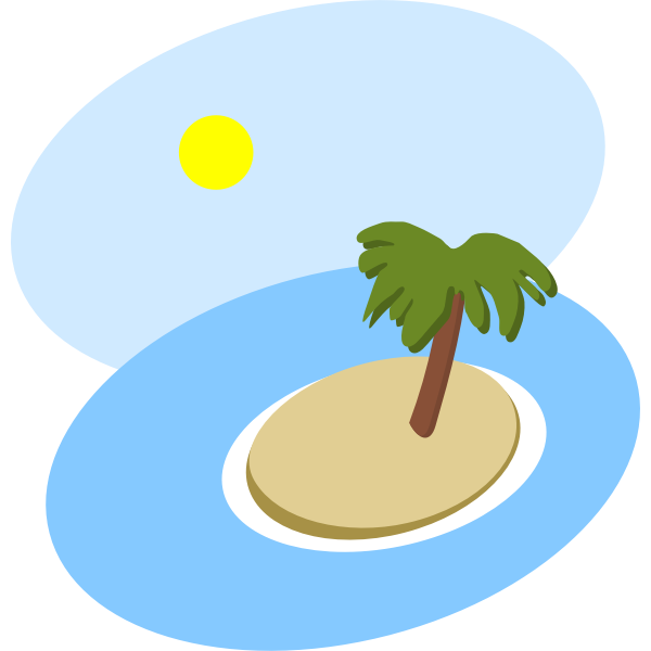 Oval island scenery vector image