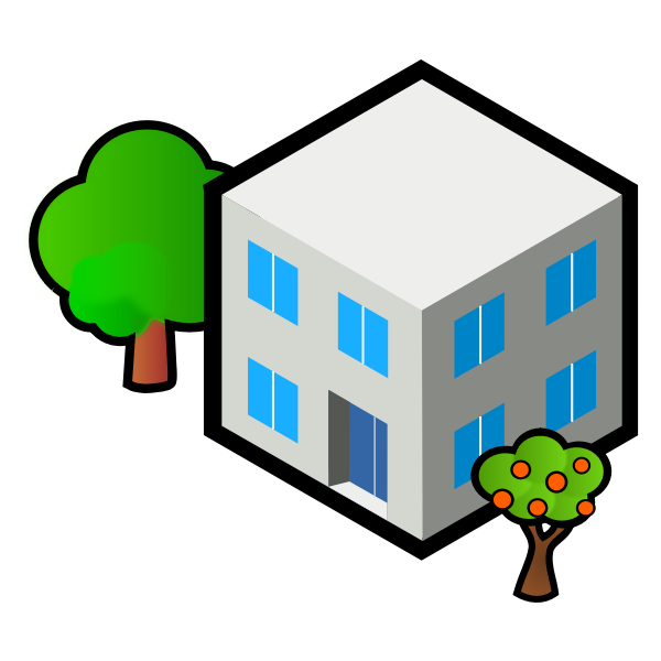 Vector image of square grey house