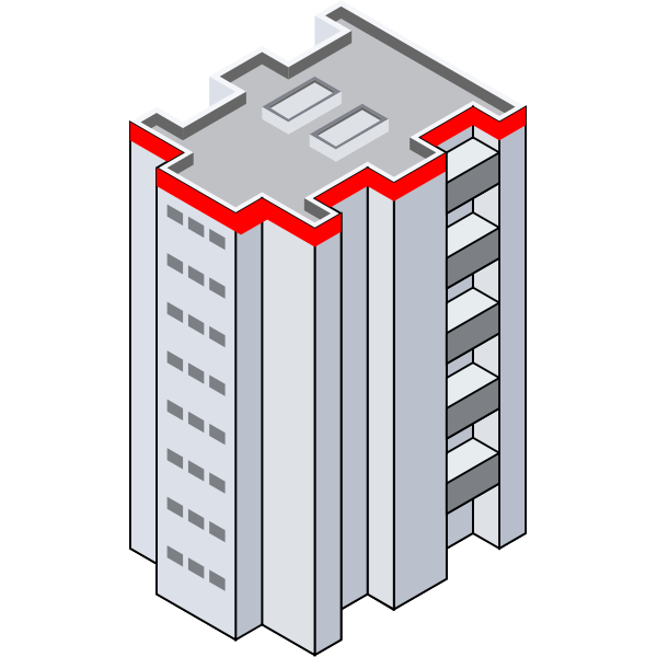 Vector illustration of isometric tower block