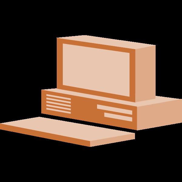 Brown desktop computer vector clip art