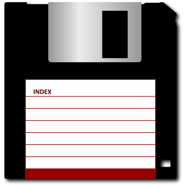 Vector drawing of 3.5 inch floppy disk
