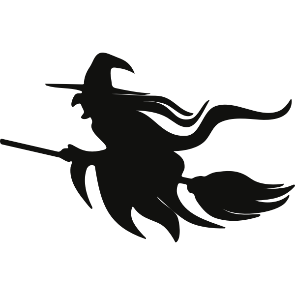 Witch On Broomstick Silhouette Free Svg