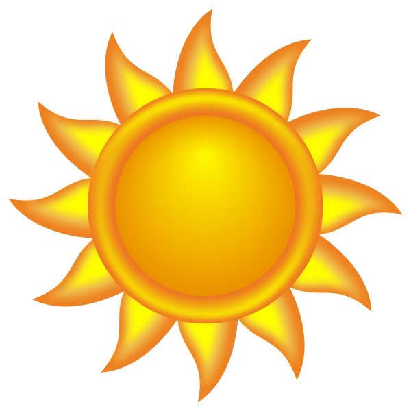 Decorative glowing sun with spokes vector clip art