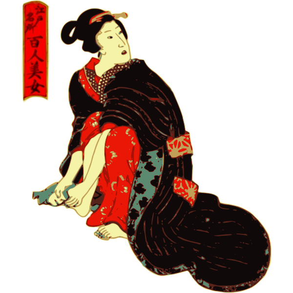 Woman in a Kimono cleans her feet