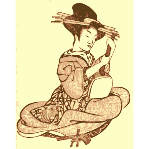 Geisha holding musical instrument vector illustration