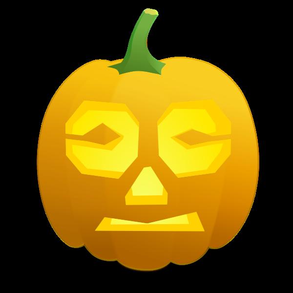 Confused pumpkin vector clip art