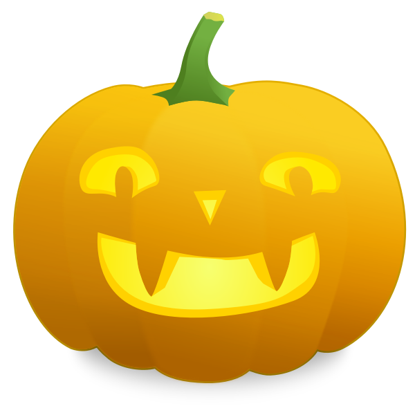 Yellow smiling pumpkin vector image