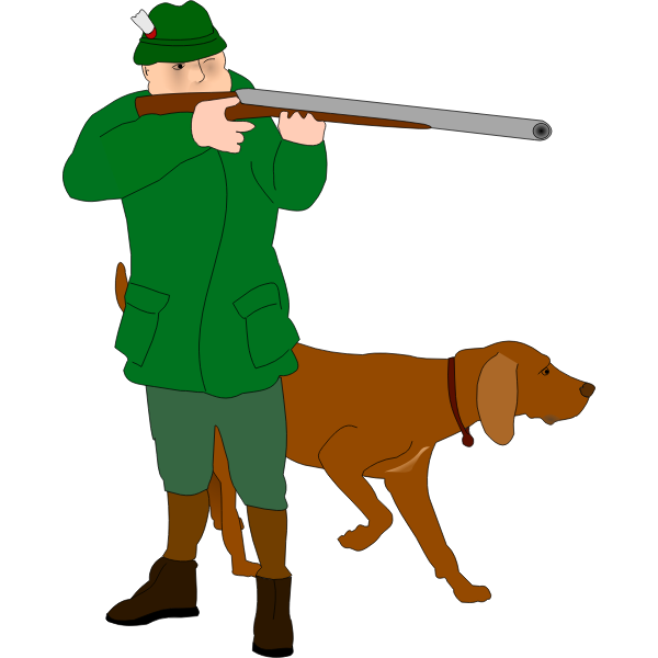 Hunter with scent hound vector clip art