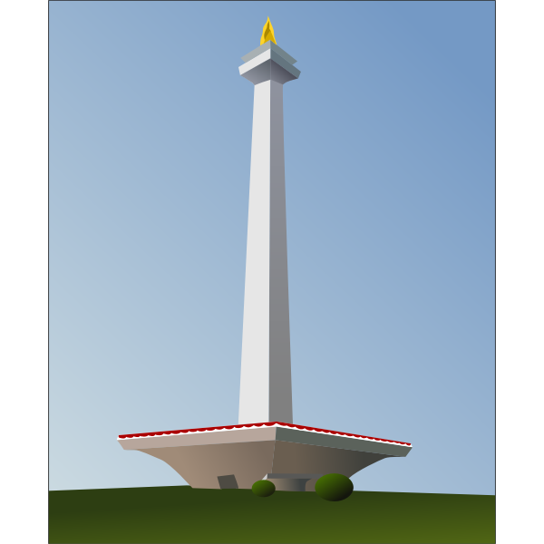 The National Monument in Indonesia vector illustration