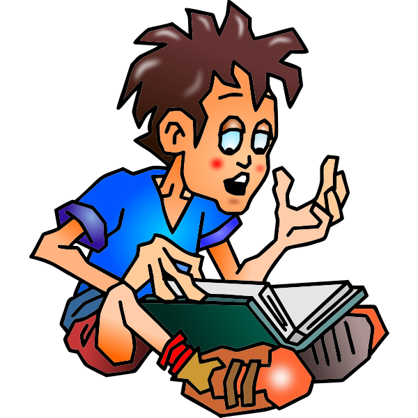 Vector graphics of boy reading a book from his lap