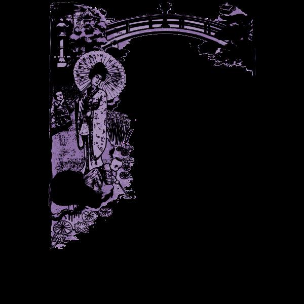 Japanese purple decorative frame vector illustration