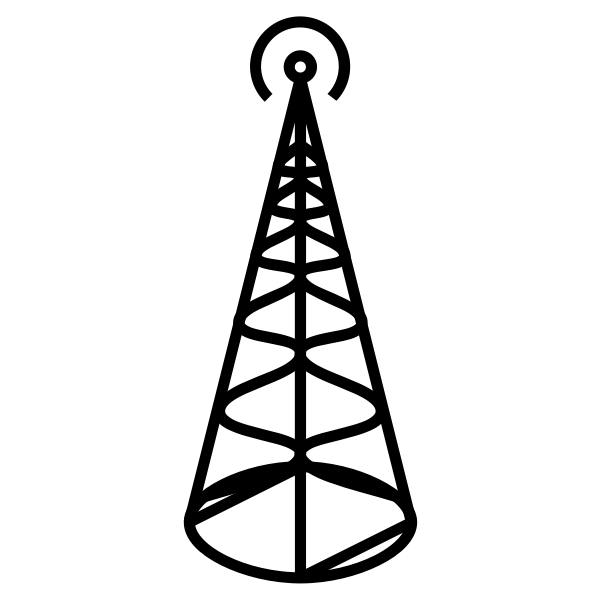 Radio transmitter antenna with round base vector illustration