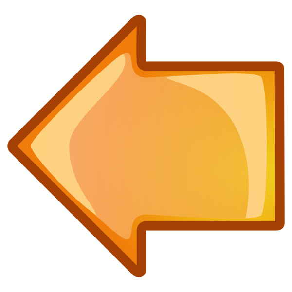 Orange arrow pointing left vector image