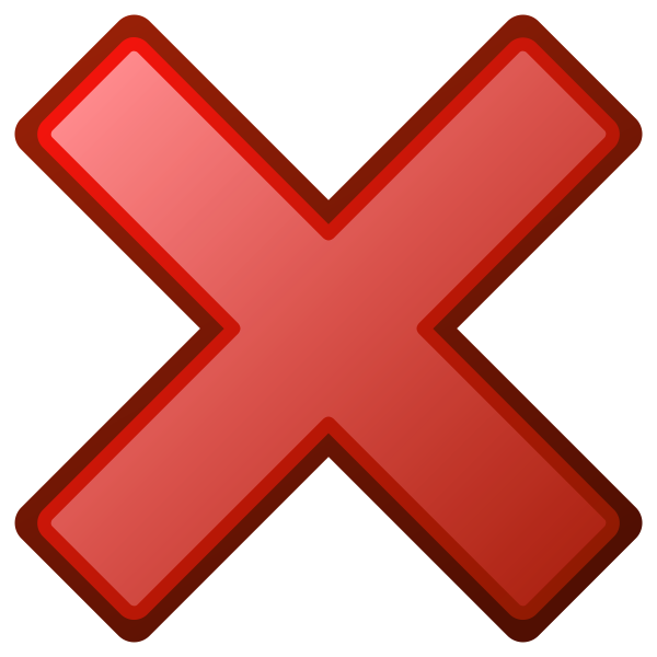 Red cross not OK vector icon