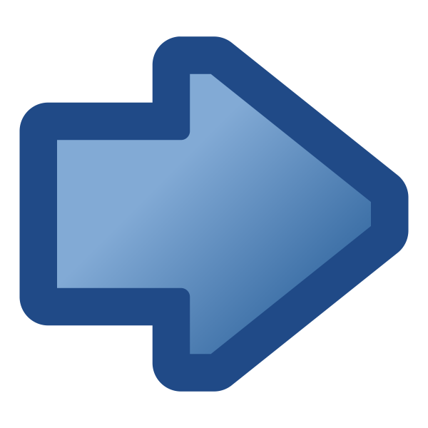 Blue arrow pointing right vector drawing