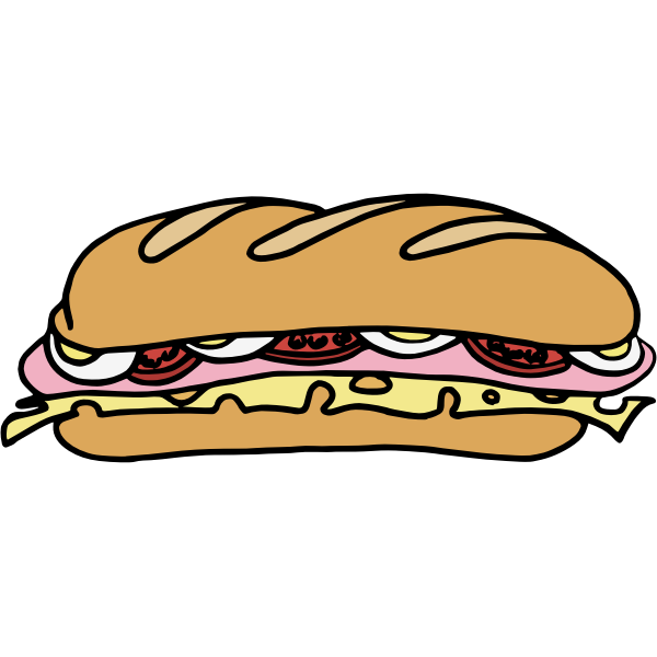 Vector drawing of long sandwich in color