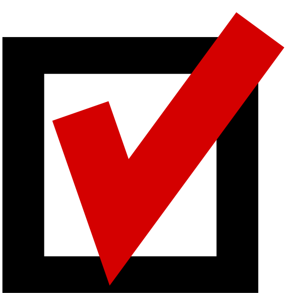 Ticked yes voting sign vector drawing