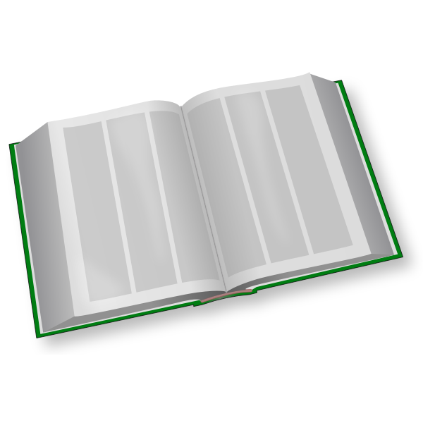 Vector clip art of green three column book open
