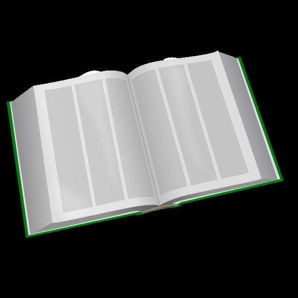Vector clip art of green three column book open