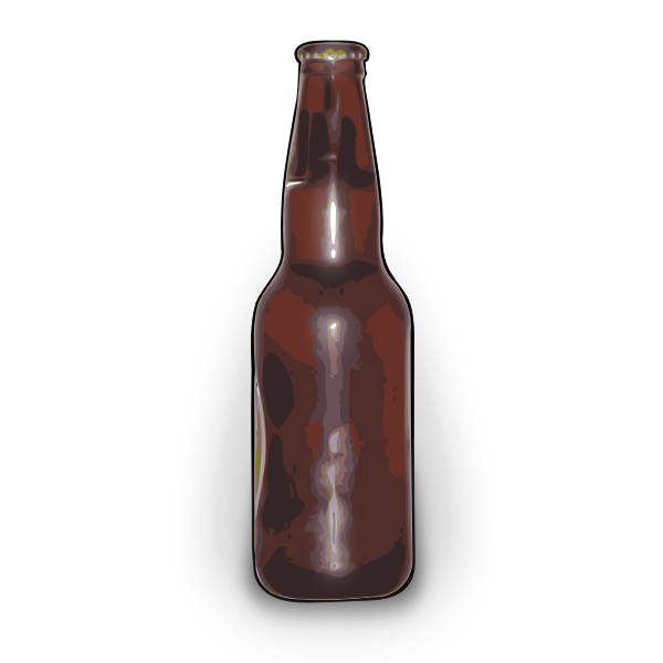 Vector graphics of brown beer bottle