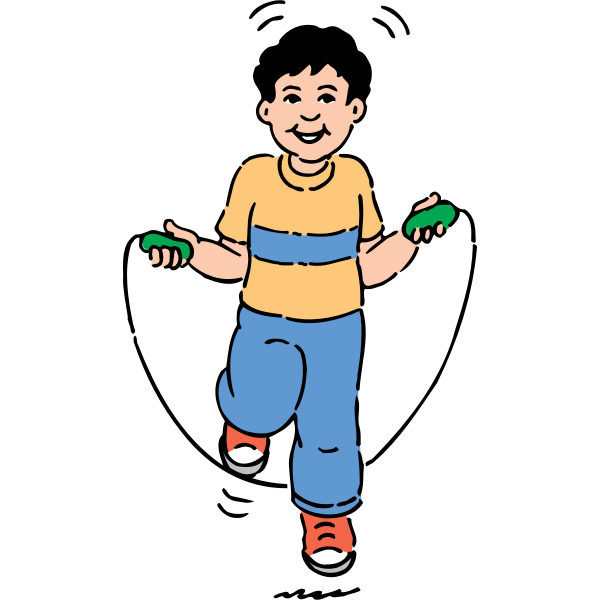 Vector clip art of a boy jumping over a rope