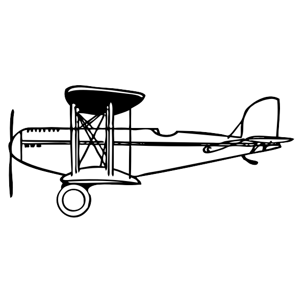 Vector clip art of a side view of a biplane