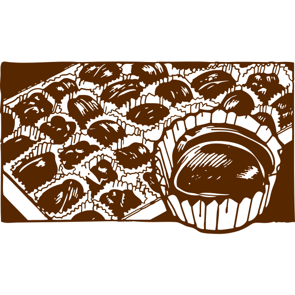 Vector image of box of muffins with one enlarged