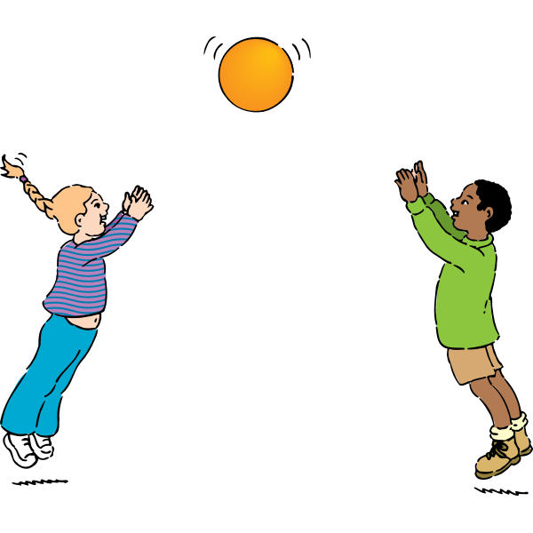 Vector graphics of kids playing handball