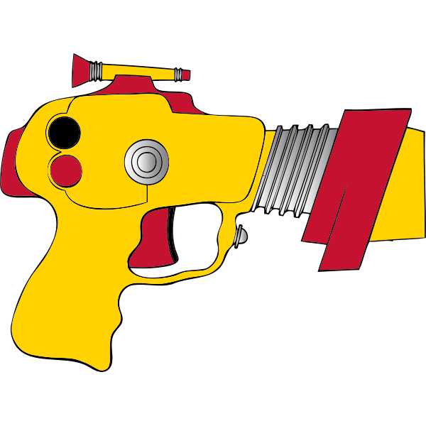 Vector illustration of yellow and red space gun