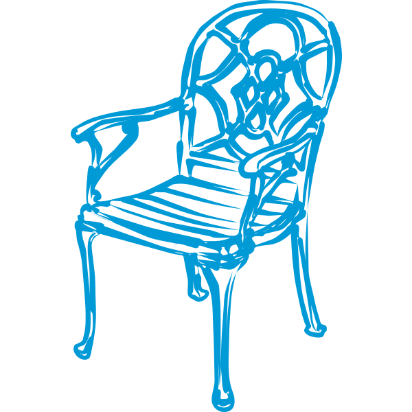 slim blue chair