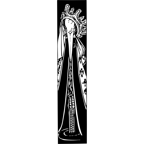 Vector graphics of stork in crown