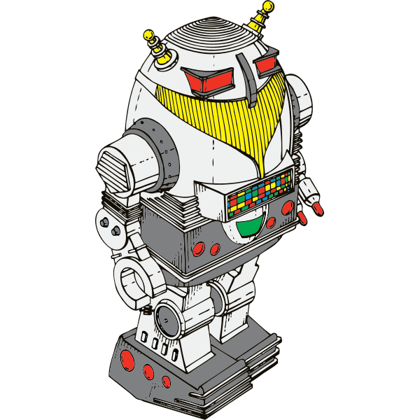 Sci-fi toy robot vector drawing