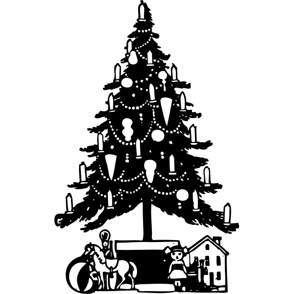 Christmas Tree Black and White vector