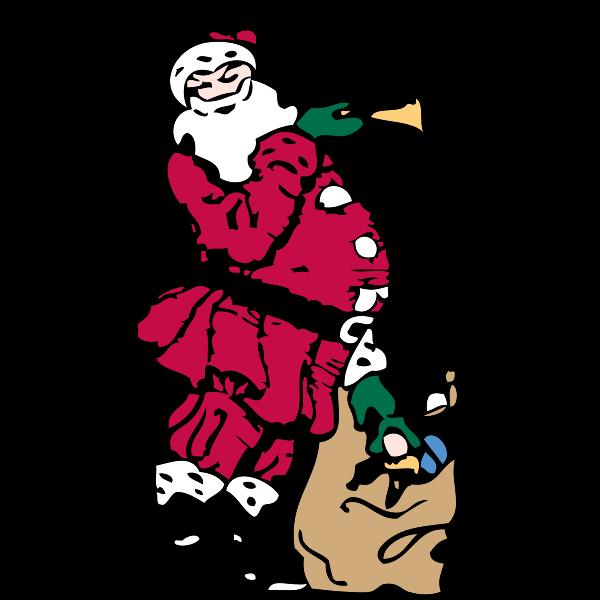 Santa and his toy bag vector