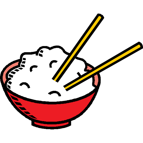 Bowl of rice with chopsticks vector clip art