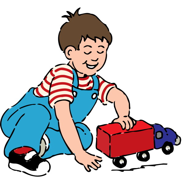 Boy playing with toy truck vector drawing