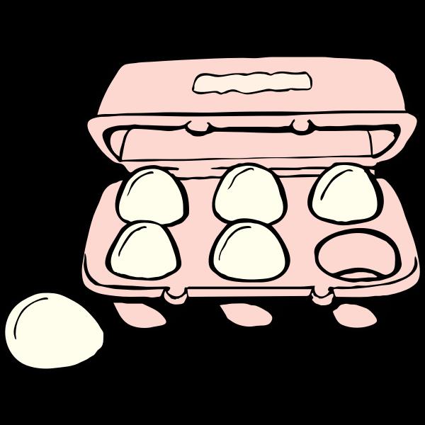 Carton of 6 eggs vector clip art