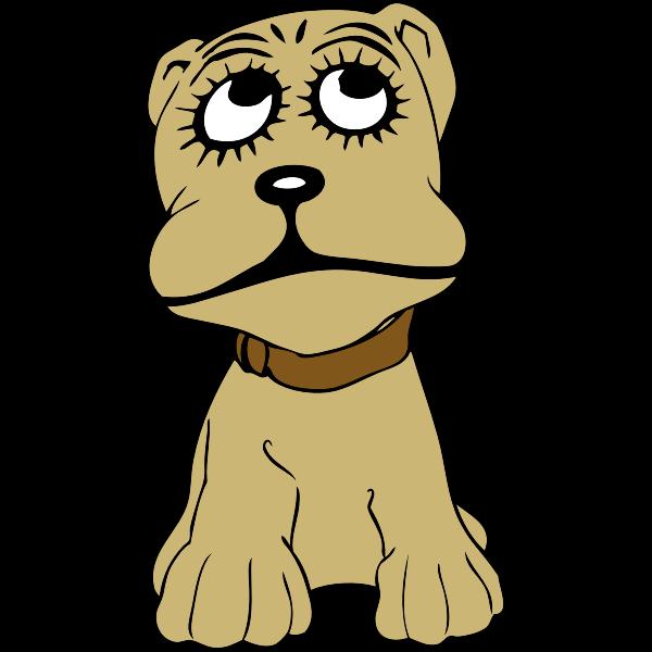 Cartoon dog portrait vector illustration