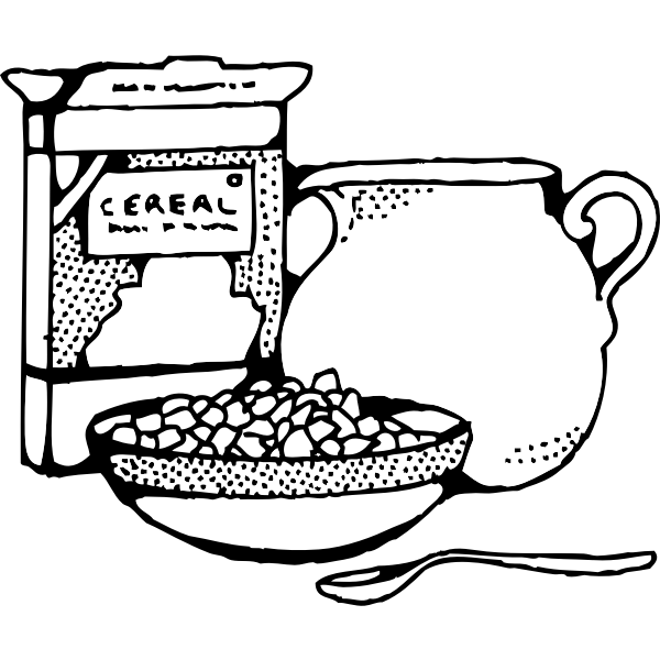 Cereal box and pot of milk vector art