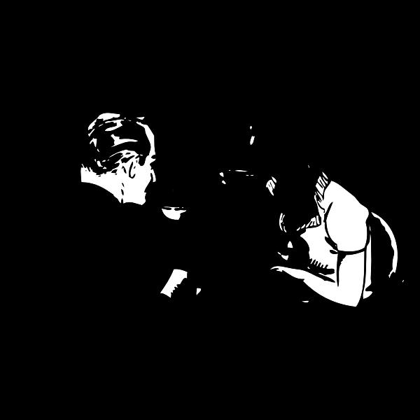 Couple drinking coffee vector