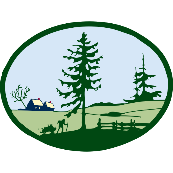 Country scene with a farmer vector image