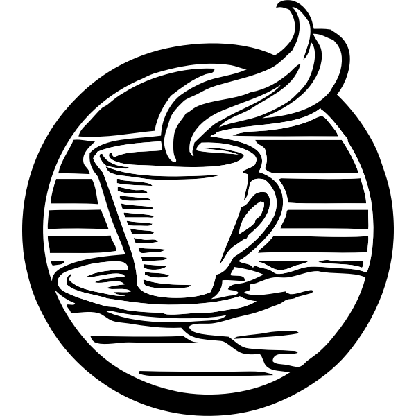 Cup of coffee black and white vector