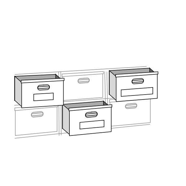 File cabinet drawers vector drawing