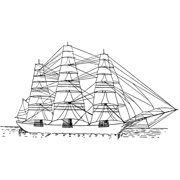 Fully rigged ship vector image
