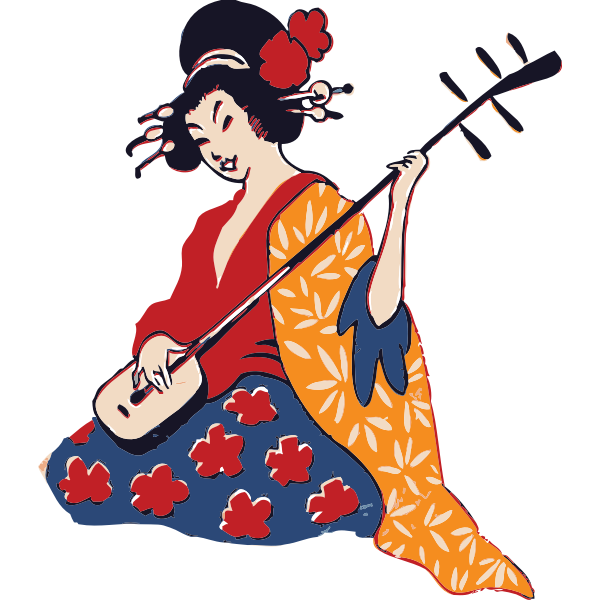 Geisha playing instrument