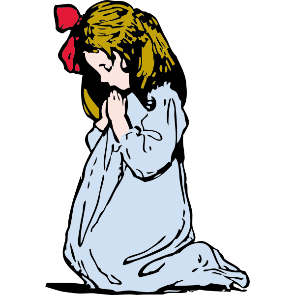 Vector illustration of young girl praying