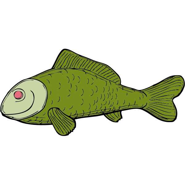 Ugly green fish side vector illustration