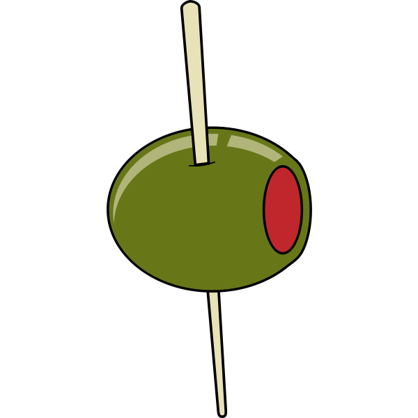 Green olive on a toothpick vector