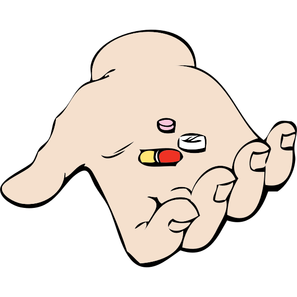 hand and pills vector image